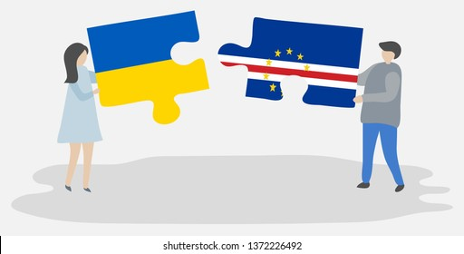 Couple holding two puzzles pieces with Ukrainian and Cabo Verdean flags. Ukraine and Cape Verde national symbols together.
