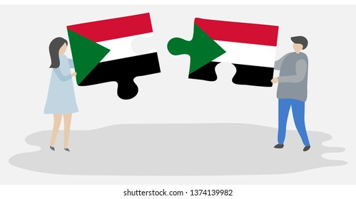 Couple holding two puzzles pieces with Sudanese and Sudanese flags. Sudan and Sudan national symbols together.