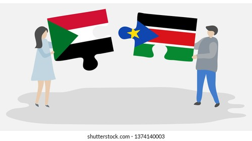 Couple holding two puzzles pieces with Sudanese and South Sudanese flags. Sudan and South Sudan national symbols together.