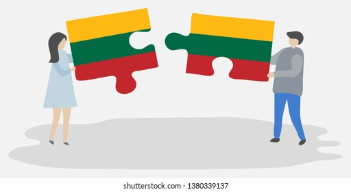 Couple holding two puzzles pieces with Lithuanian and Lithuanian flags. Lithuania and Lithuania national symbols together.