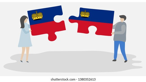 Couple holding two puzzles pieces with Liechtenstein and Liechtenstein flags. Liechtenstein and Liechtenstein national symbols together.