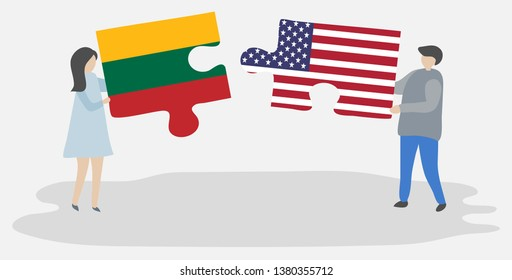 Couple holding two puzzles pieces with Lithuanian and American flags. Lithuania and United States of America national symbols together.