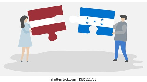 Couple holding two puzzles pieces with Latvian and Honduran flags. Latvia and Honduras national symbols together.