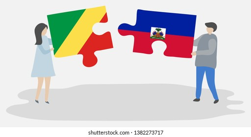 Couple holding two puzzles pieces with Congolese and Haitian flags. Republic of the Congo and Haiti national symbols together.