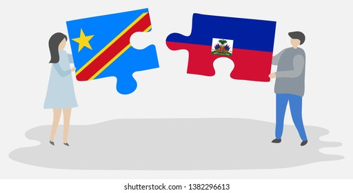 Couple holding two puzzles pieces with Congolese and Haitian flags. Democratic Republic of the Congo and Haiti national symbols together.