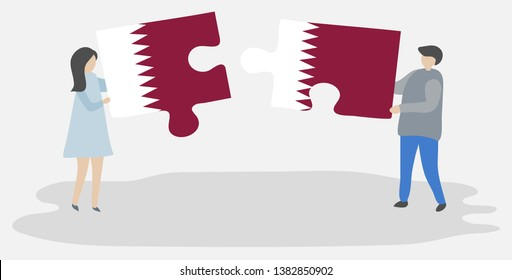 Couple holding two puzzles pieces with Qatari and Qatari flags. Qatar and Qatar national symbols together.