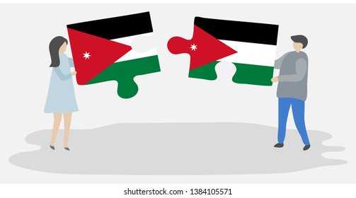 Couple holding two puzzles pieces with Jordanian and Jordanian flags. Jordan and Jordan national symbols together.