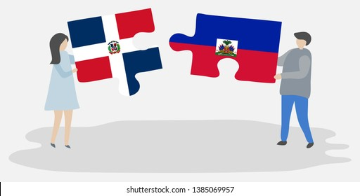 Couple holding two puzzles pieces with Dominican and Haitian flags. Dominican Republic and Haiti national symbols together.