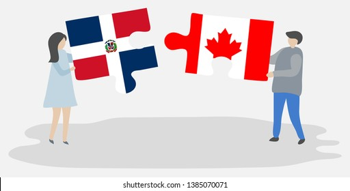 Couple holding two puzzles pieces with Dominican and Canadian flags. Dominican Republic and Canada national symbols together.