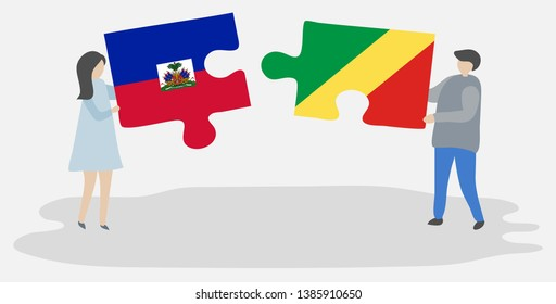 Couple holding two puzzles pieces with Haitian and Congolese flags. Haiti and Republic of the Congo national symbols together.