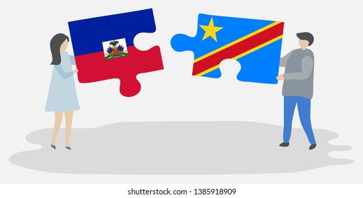 Couple holding two puzzles pieces with Haitian and Congolese flags. Haiti and Democratic Republic of the Congo national symbols together.