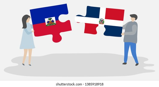 Couple holding two puzzles pieces with Haitian and Dominican flags. Haiti and Dominican Republic national symbols together.