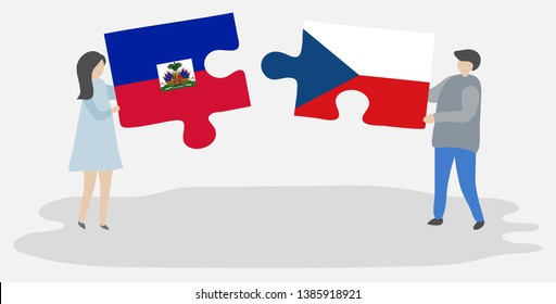 Couple holding two puzzles pieces with Haitian and Czech flags. Haiti and Czech Republic national symbols together.
