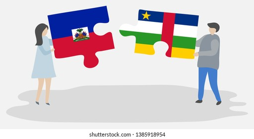 Couple holding two puzzles pieces with Haitian and Central African flags. Haiti and Central African Republic national symbols together.