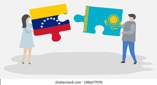 Couple holding two puzzles pieces with Venezuelan and Kazakh flags. Venezuela and Kazakhstan national symbols together.