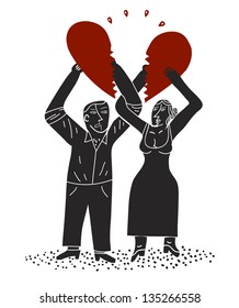 Couple holds halves of a divided heart