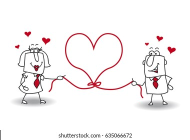 A couple holds a heart shape rope