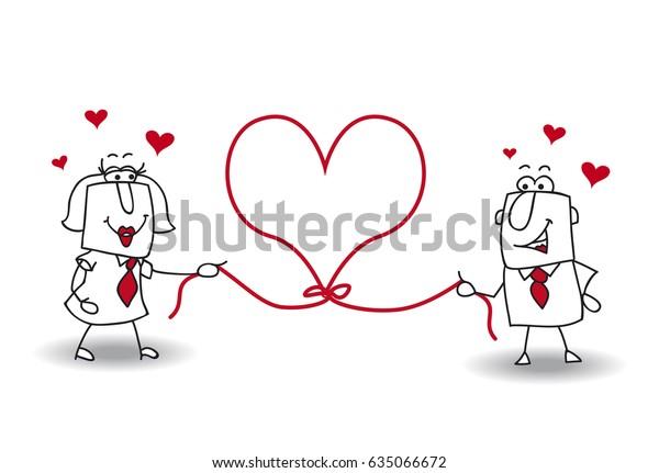 Un couple tient une corde en forme de coeur