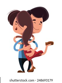 Couple hugging each other vector illustration cartoon character