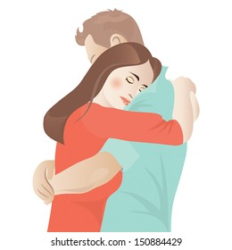couple hugging with eyes closed