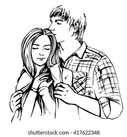 Couple hugging and flirting. Hand drawn vector illustration