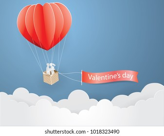 Couple hugging in a heart shaped balloon on the sky picked text Valentine'day,paper craft style and illustration