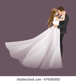 A couple hugging and kissing. Bride and groom. Vector illustration for weddings, Valentine's Day.