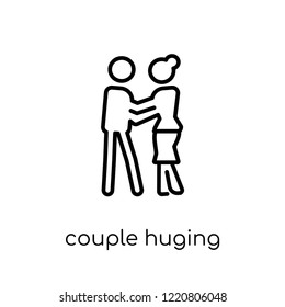 Couple Huging icon. Trendy modern flat linear vector Couple Huging icon on white background from thin line Activity and Hobbies collection, editable outline stroke vector illustration