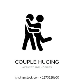 couple huging icon vector on white background, couple huging trendy filled icons from Activity and hobbies collection, couple huging simple element illustration