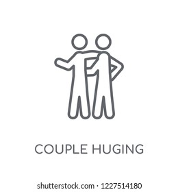 Couple Huging linear icon. Modern outline Couple Huging logo concept on white background from Activity and Hobbies collection. Suitable for use on web apps, mobile apps and print media.