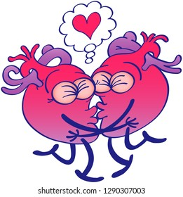 Couple of human hearts falling in love while kissing passionately. They're clenching their eyes, hugging, touching their lips and raising a leg each. They show a cartoon heart in a thought bubble