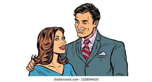 couple husband and wife. Pop art retro vector illustration drawing kitsch vintage