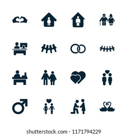 Couple icon. collection of 16 couple filled icons such as male, man in home, table, marriage proposal, hearts, children, swan heart. editable couple icons for web and mobile.