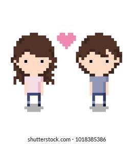 Couple Icon, Pixel 8 bit style
