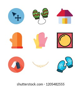 couple icon set. vector set about move, condom, mitten and mittens icons set.