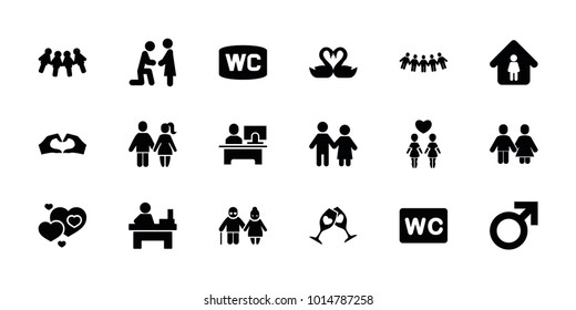 Couple icons. set of 18 editable filled couple icons: male, wc, man in home, table, marriage proposal, children, swan heart, family, hearts, clink glasses