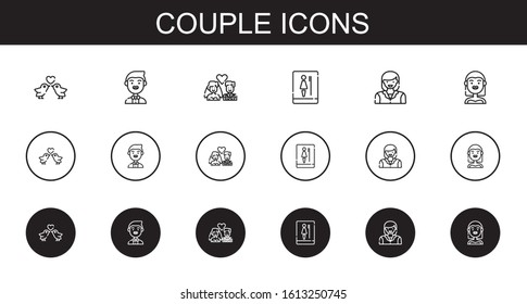 couple icons set. Collection of couple with love birds, groom, newlyweds, toilet, woman, bride. Editable and scalable couple icons.