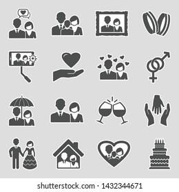 Couple Icons. Sticker Design. Vector Illustration.