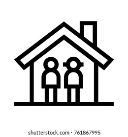 Couple inside a house flat line icon. Family home real estate property linear vector illustration. Isolated on white background.