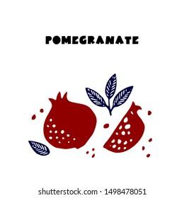 Couple juicy ripe pomegranate fruit whith leaf vector illustration. Isolated white background. Cutting handdrawn pomegranate.