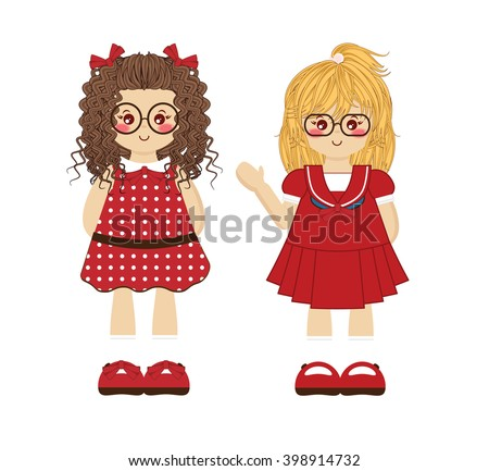 Couple Of Kawaii Baby Girls On Different Red Clothes With Funny Cute Glasses Illustration For