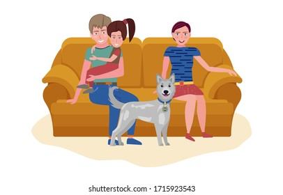 Couple with kid and dog sitting on sofa. Calm evening pastime concept. Vector illustration