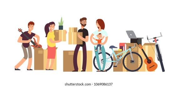 Couple and kids holding cardboard box with household stuff. Moving day vector concept. Illustration of cardboard box for moving, delivery package relocation