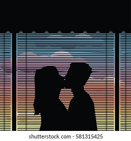 Couple Kiss Silhouette - Valentine's Day Illustration - vector eps10