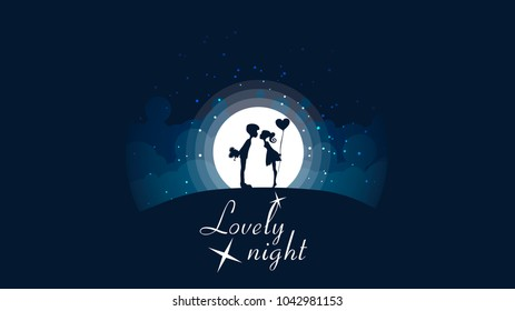 A couple  kissing on the hill in front of a big bright moon and stars.