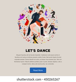 Couple Kizomba in bright costumes. Vector illustration of partners dance happy peoples man and woman ballroom dancing poster, Bachata, roomba salsa latino dancer concept for flyer