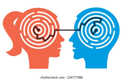 Couple labyrinth in the heads. Female and male head silhouettes with maze symbolizing psychological processes of understanding. Vector illustration.