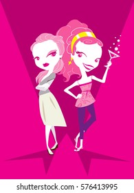 Couple Ladies in Pink. Cartoon Fashion Sexy Ladies.