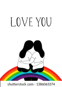 Couple lesbian sitting on a rainbow. Homosexual romantic partners on date. Concept of love, passion and homosexuality. Hand drawn vector illustration.