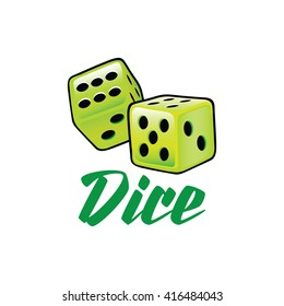 A couple of lime green dice rolling in vector format illustration over white isolated background Dice icon, Dice icon eps10, Dice icon vector, Dice icon eps